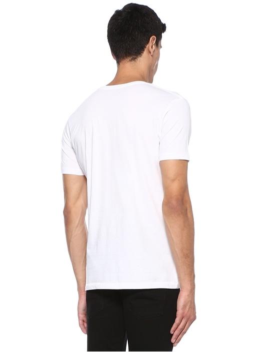 Beyaz Bisiklet Yaka Yazı Baskılı Basic T-shirt