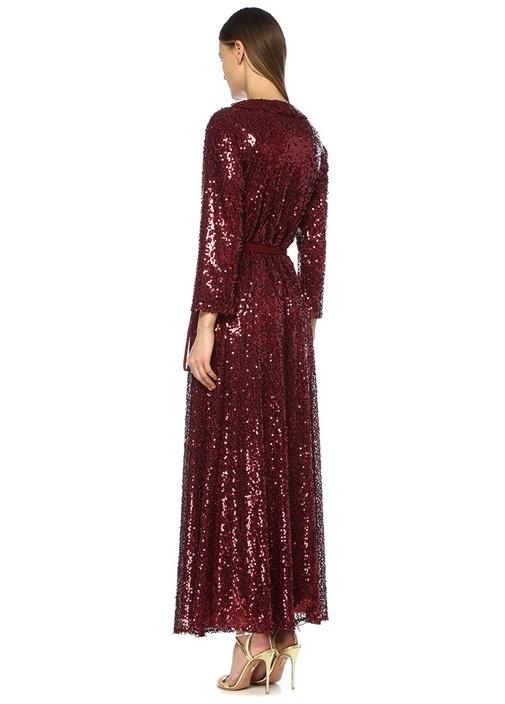 Parrish Bordo Payetli Fırfırlı Maxi Anvelop Elbise
