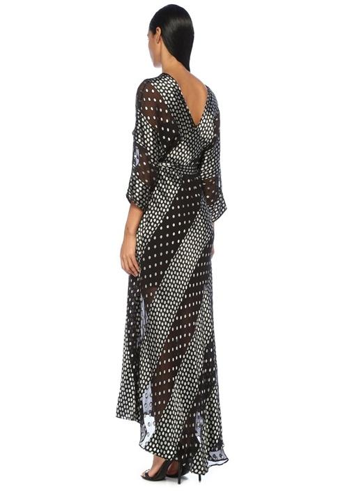 Siyah Silver Puanlı Maksi İpek Anvelop Elbise