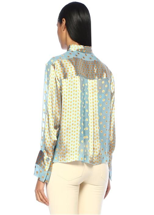 Mavi Dik Yaka Puantiye Desenli İpek Gömlek