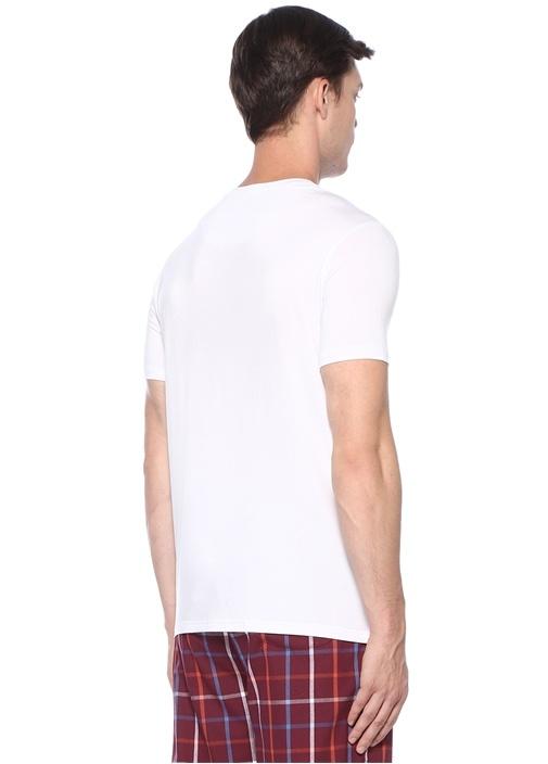 Beyaz Bisiklet Yaka Basic T-shirt