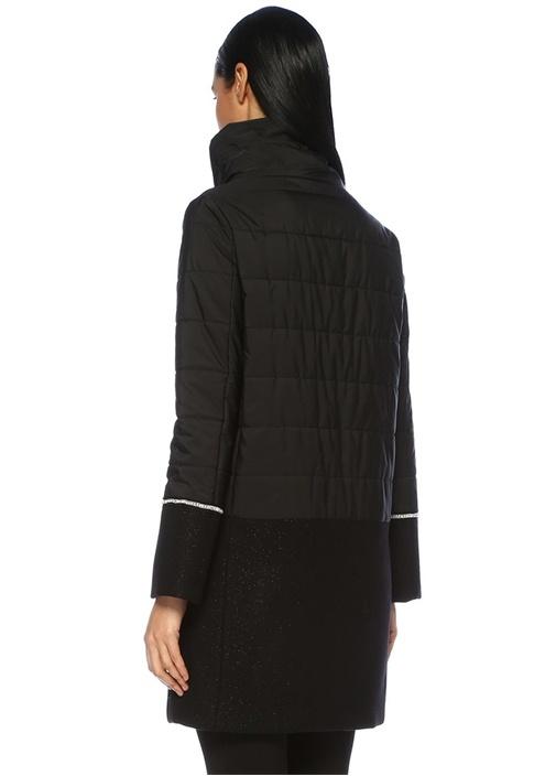 Siyah Dik Yaka Garni Detaylı Uzun Puff Yün Palto
