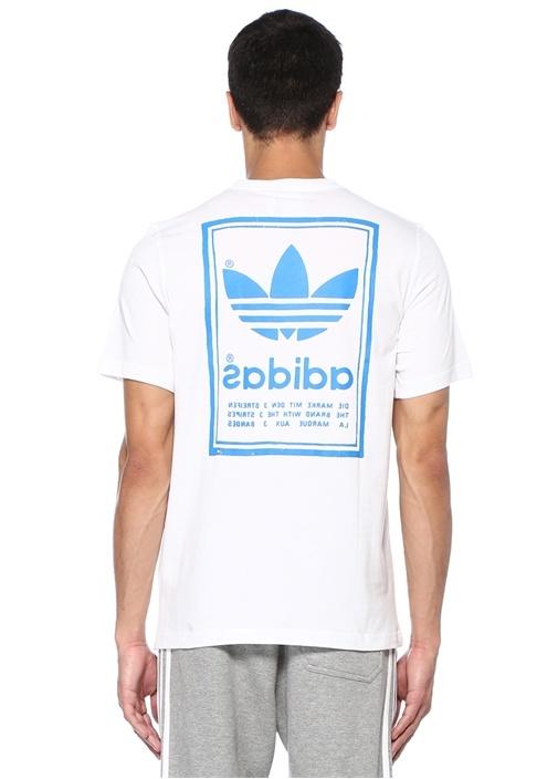 Vintage Beyaz Logo Baskılı Basic T-shirt