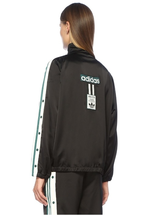 Adibreak Siyah Dik Yaka Şeritli Logolu Ceket