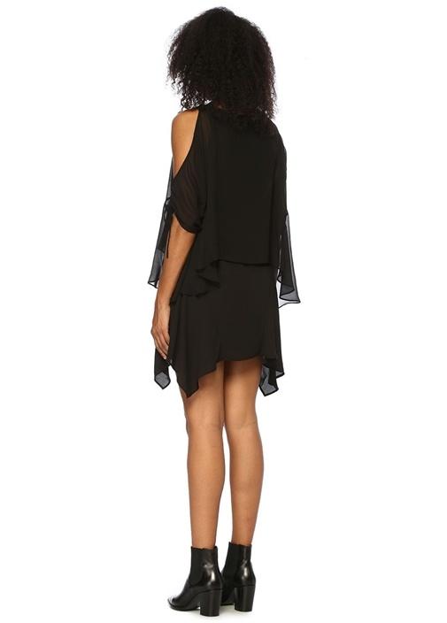 Ella Kayık Yaka Kolları Büzgülü Mini Elbise