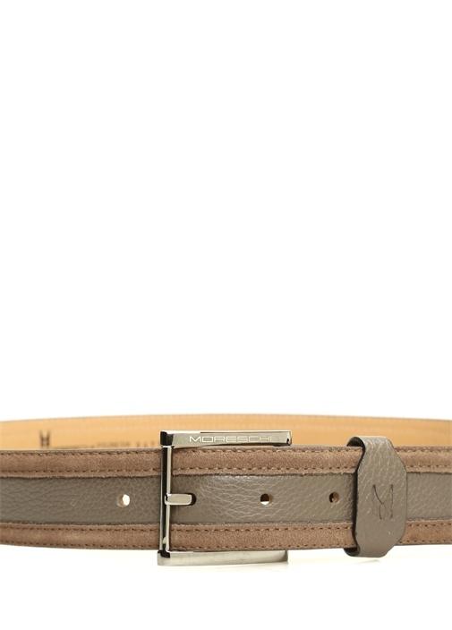 Kahverengi Şerit Detaylı Erkek Deri Kemer