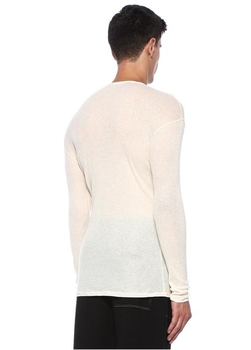 Ekru Bisiklet Yaka Ribli Uzun Kollu T-shirt
