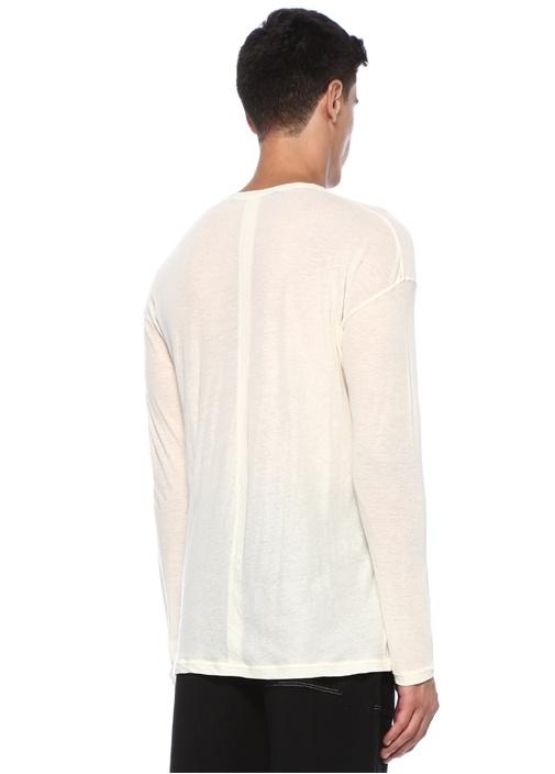 Ekru Yakası Düğmeli Dokulu Uzun Kollu T-shirt