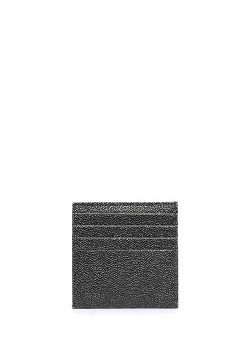 Gri Siyah Logo Baskılı Erkek Deri Kartlık