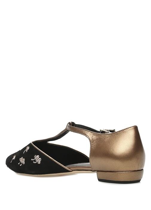 Siyah Gold Çiçek Nakışlı Kadın Süet Babet