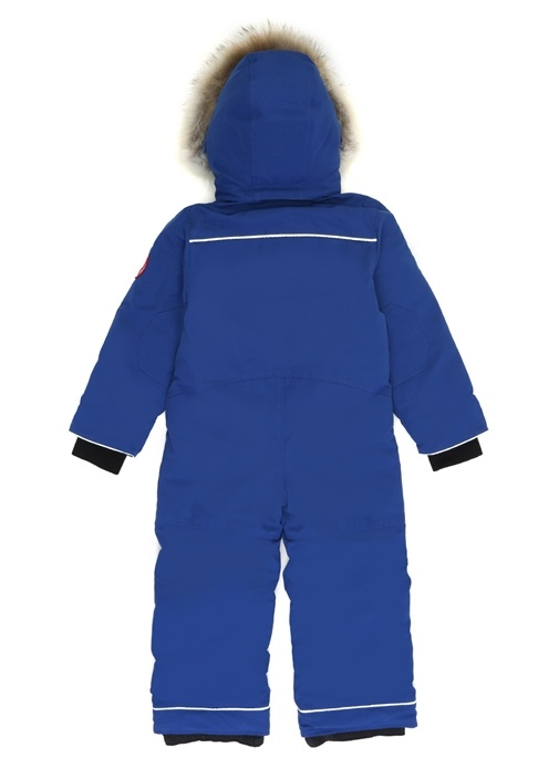 Grizzly Mavi Kapüşonlu Logolu Çocuk Kayak Tulumu
