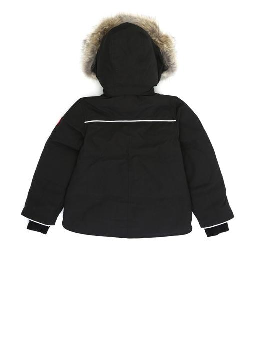 Snowy Owl Siyah Kapüşonlu Unisex Çocuk Parka