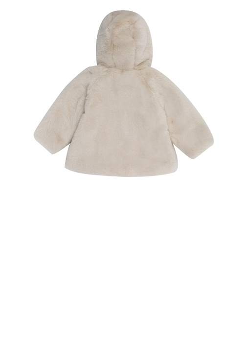 Ekru Kapüşonlu Kız Bebek Peluş Ceket