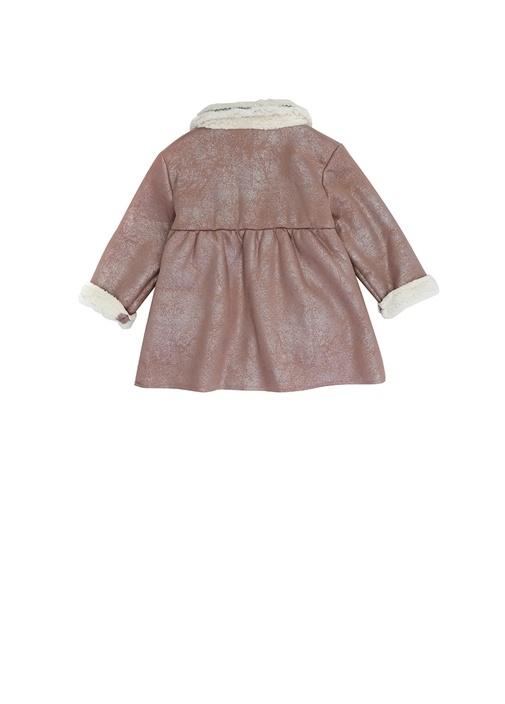 Pembe Ekru Peluş Detaylı Kız Bebek Palto