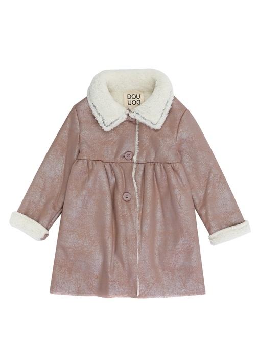 Pembe Ekru Peluş Detaylı Kız Çocuk Palto