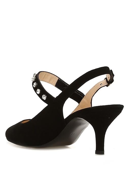 Siyah Taş İşlemeli Kadın Süet Sandalet