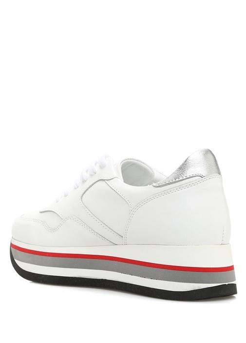 Beyaz Kalın Tabanlı Kadın Deri Sneaker