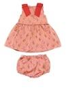 Bodice Pembe Mikro Çiçekli Kız Bebek Elbise