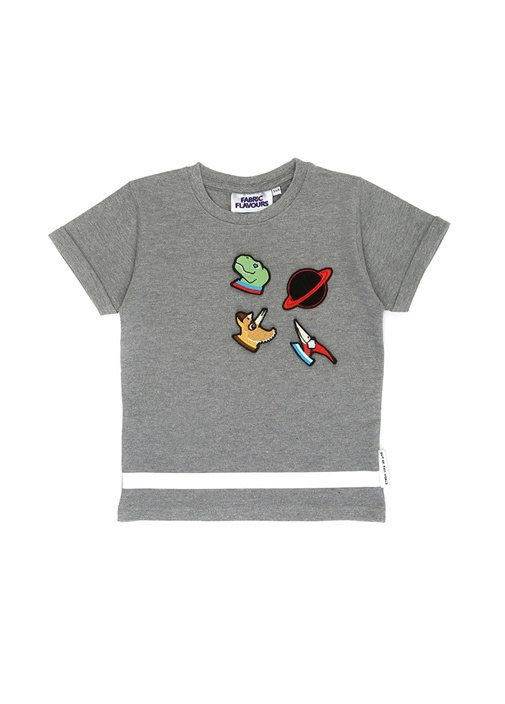 Gri Reflektörlü Patchli Erkek Çocuk T-shirt