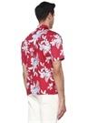 Custom Fit Kırmızı Çiçek Baskılı Gömlek