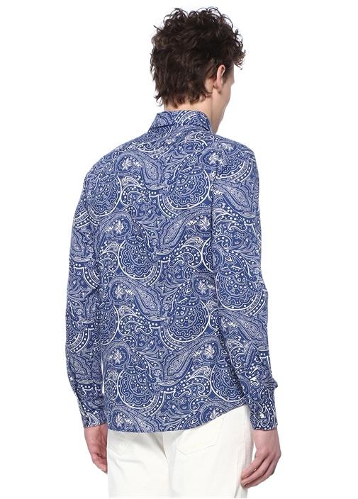 Slim Fit Mavi Düğmeli Yaka Etnik Desenli Gömlek