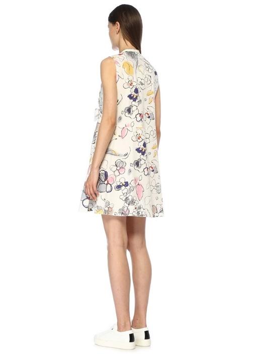 Beyaz V Yaka Karalama Desenli Mini Poplin Elbise