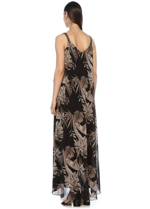 Siyah Tropikal Desenli Maksi Şifon Abiye Elbise