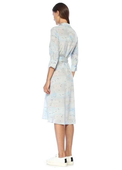 Mavi Kuş Desenli Kuşaklı Midi İpek Gömlek Elbise