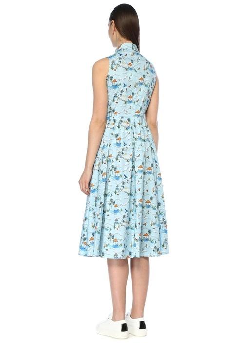 Mavi Desenli Kolsuz Midi Poplin Gömlek Elbise