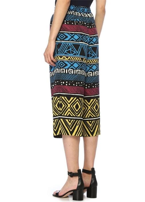Colorblocked Karışık Desenli Crop Pantolon