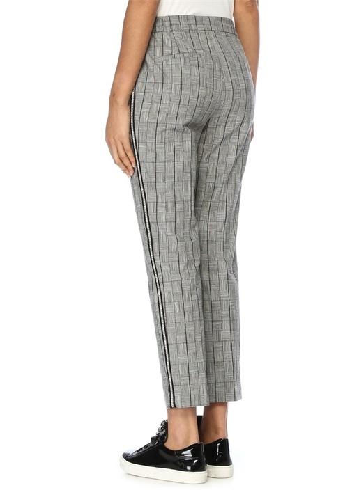 Gri Ekose Desenli Yanı Taş Şeritli Pantolon