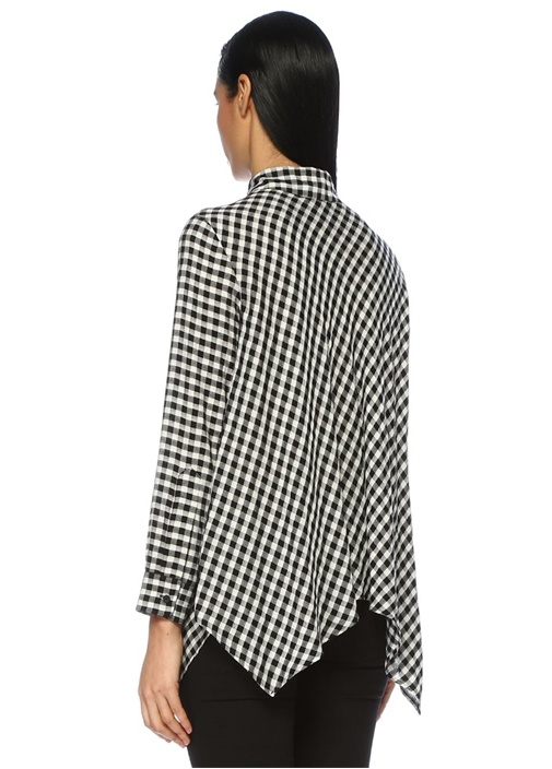 Siyah Beyaz Asimetrik Bol Kesim Kareli Gömlek