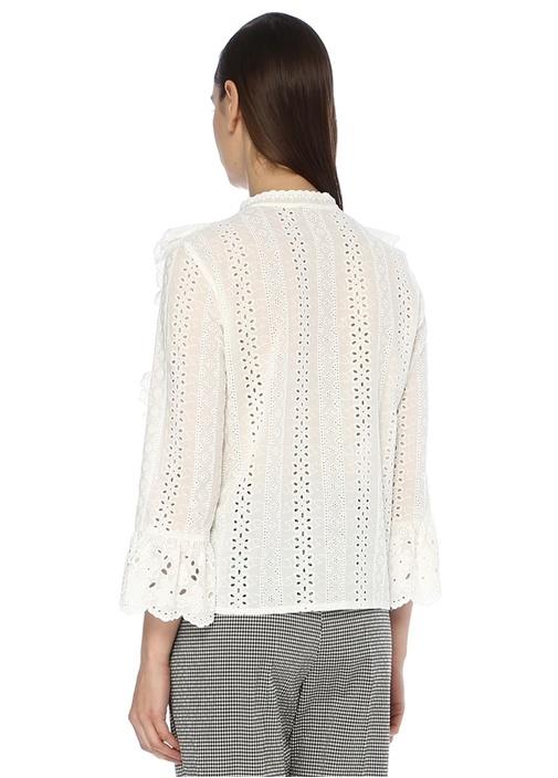 Beyaz Delikli Nakışlı Fırfır Detaylı Gömlek
