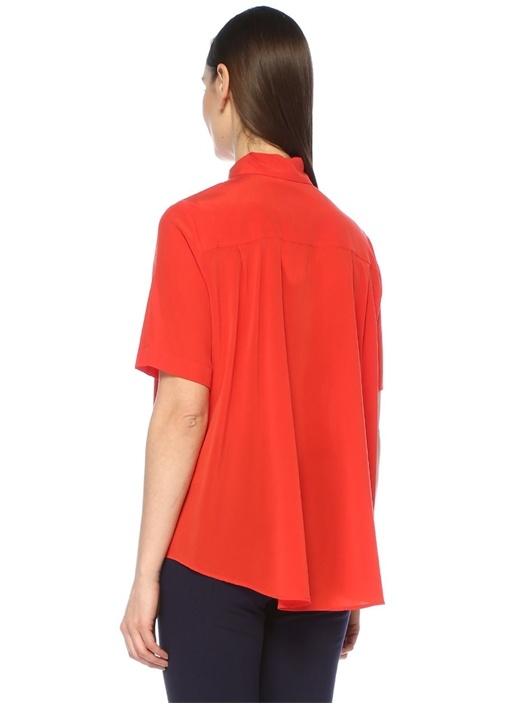 Kırmızı Önü Kısa Düşük Kol İpek Gömlek