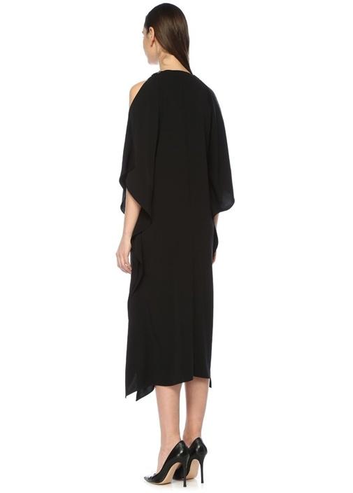 Siyah Omzu Açık Pelerin Formlu Midi Abiye Elbise