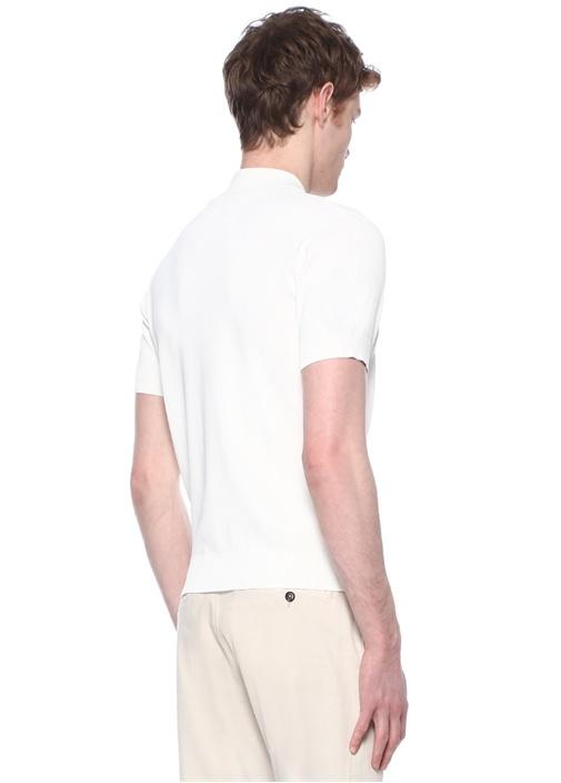 Beyaz Polo Yaka Kısa Kollu Triko