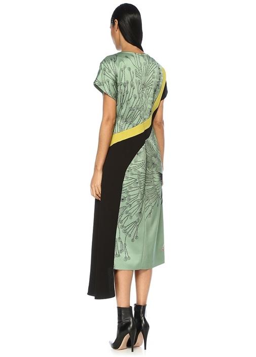 Deliri Yeşil Çiçekli Asimetrik Drapeli Midi Elbise