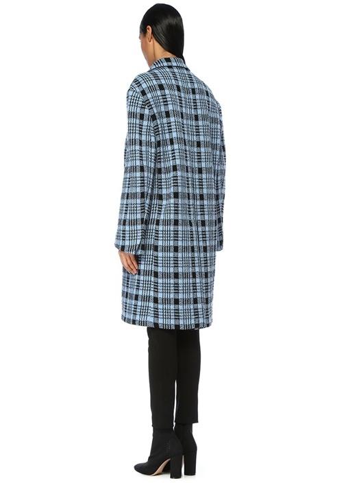 Ratti Mavi Siyah Kelebek Yaka Ekoseli Yün Palto