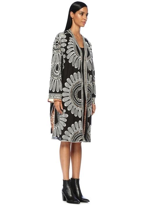 Lisbon Siyah Çiçek Nakışlı İşlemeli Kimono Ceket