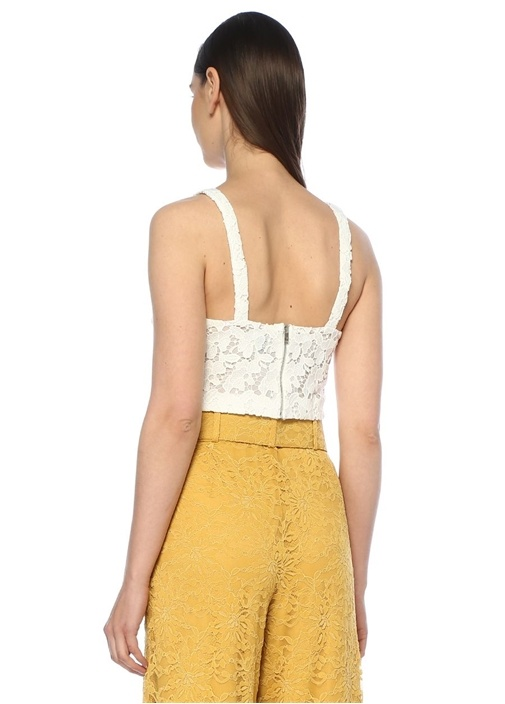 Beyaz V Yaka Transparan Crop Güpür Dantel Bluz