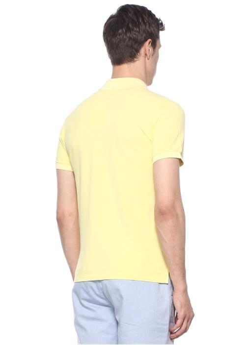 Slim Fit Sarı Polo Yaka Palmiye NakışlıT-shirt