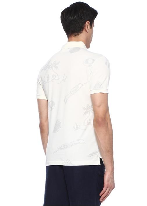 Slim Fit Ekru Çizim Baskılı Polo Yaka T-shirt