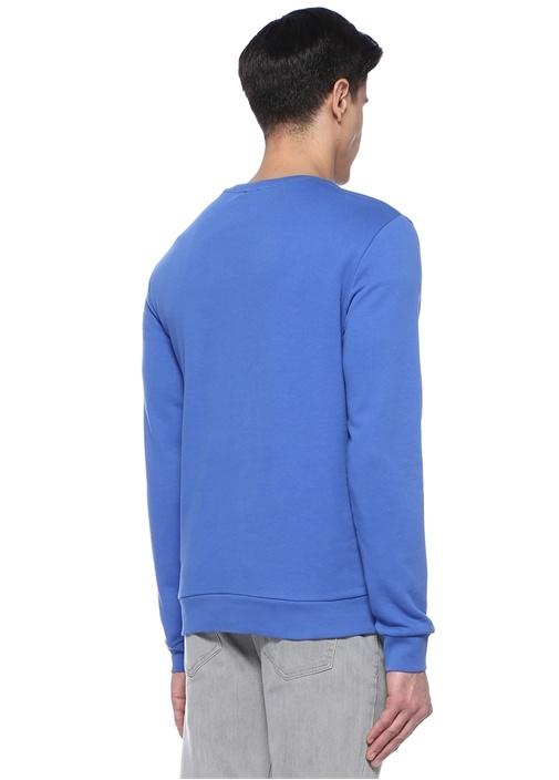 Mavi Bisiklet Yaka Yelken Kabartmalı Sweatshirt