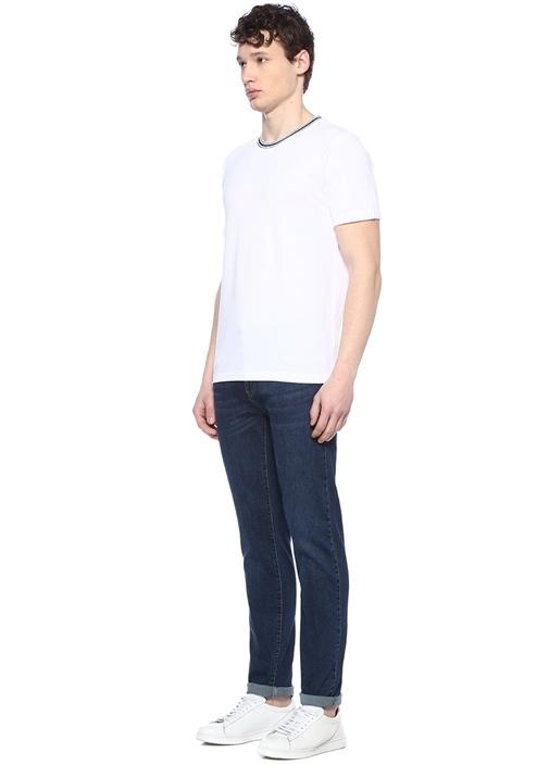 Beyaz Bisiklet Yaka Ribli T-shirt