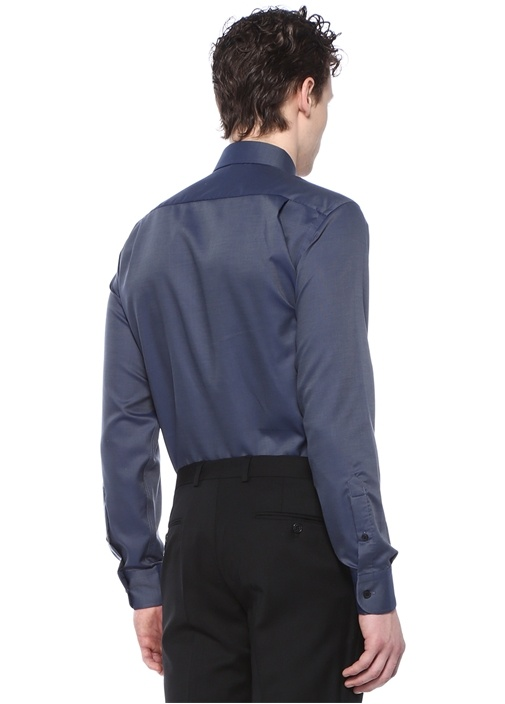 Non Iron Comfort Fit Lacivert İngiliz Yaka Gömlek