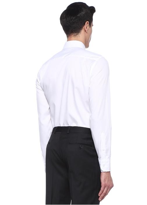 Comfort Fit Beyaz Armürlü Non Iron Gömlek