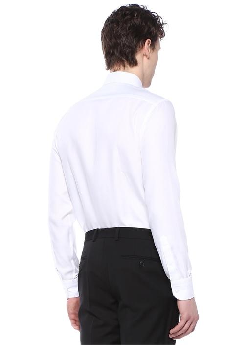 Non İron Slim Fit Beyaz Kesik Yaka Gömlek