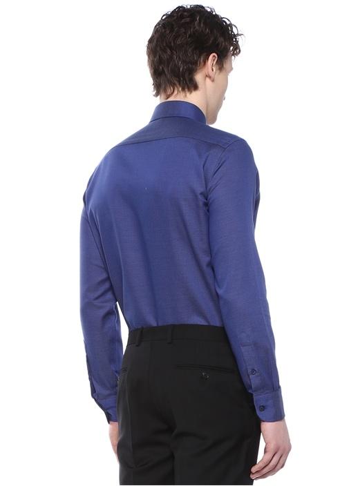 Non İron Slim Fit Lacivert Mikro Desenli Gömlek