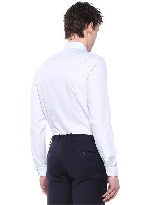 Mavi İngiliz Yaka Non Iron Özellikli Gömlek