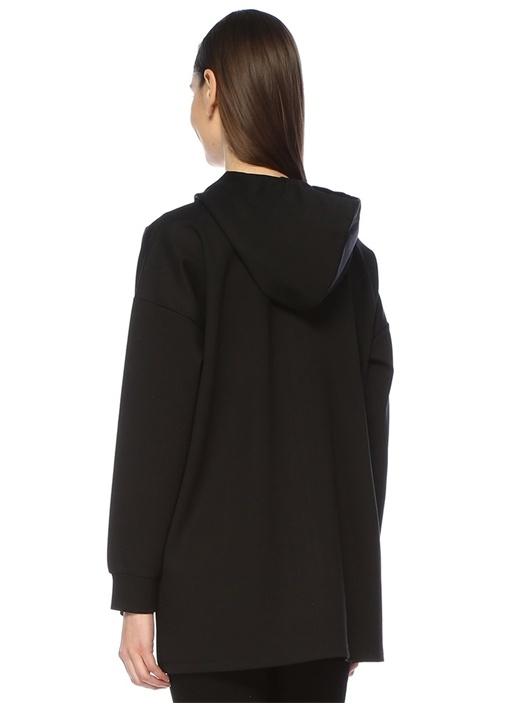 Siyah Kapüşonlu Patchli Sweatshirt